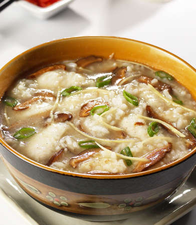 fish porridge,fish porridge with black mushroom,