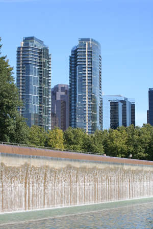 water feature: Bellevue Washington Skyscrapers and Waterfall