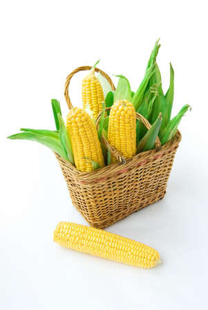 kernels: Basket with corns on white background
