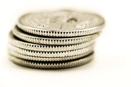 silver coins: metal chinese coins pile on the white background