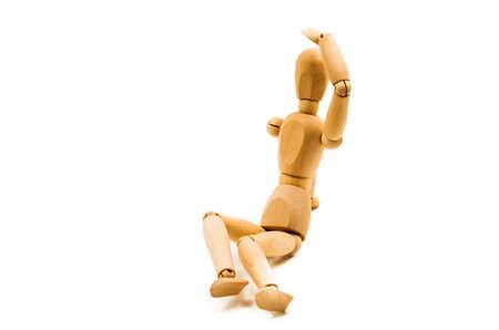 wooden man puppet sitting protecting eyes on white background Banco de Imagens - 81785920