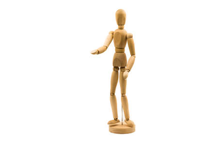 wooden man puppet stand on white background stretching a hand Banco de Imagens - 81913945