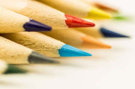 Colorful pencils on the white background