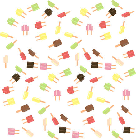 Popsicle ice cream scatter on white background.