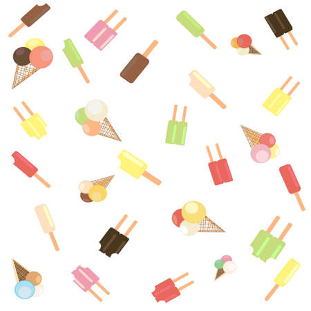 Popsicle ice cream scatter on white background. Stock Vector - 86738096