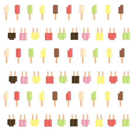 Popsicle ice cream scatter on white background. Stock Vector - 86738098