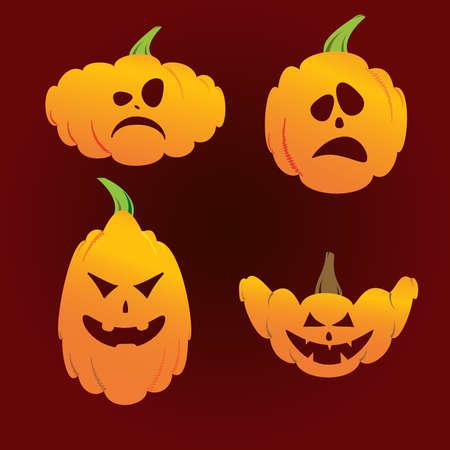 candle: Halloween pumpkin set on red background Illustration