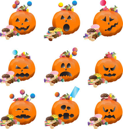 candle: Halloween pumpkins set on white background