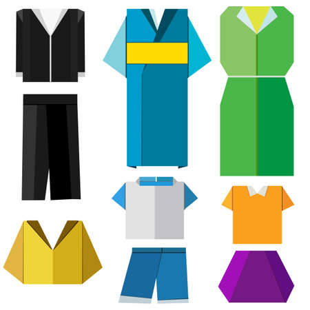 colorful origami clothes vector on white background Illustration