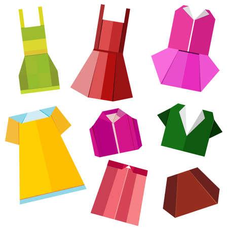 Bunte Origami Kleidung Vektor auf weißem Hintergrund