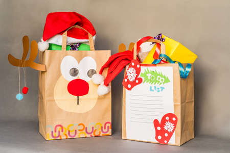 Christmas Hand Made Crafts Made Of Recycled Paper Bags Stock Photo