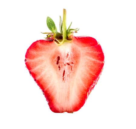 half of juicy strawberry isolated on white background