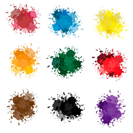 colored ink or paint paint splashes vector. Paint splash or splat, splattered ink, dirty blots artistic elements