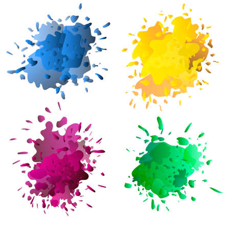 Colored ink or paint paint splashes vector. Paint splash or splat, splattered ink, dirty blots artistic elements Illustration