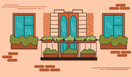 balcony in French style in a brick house vector illustration Stock Illustratie