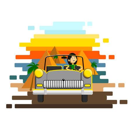 Person car driving. Careless driver character. Vector flat cartoon illustration.