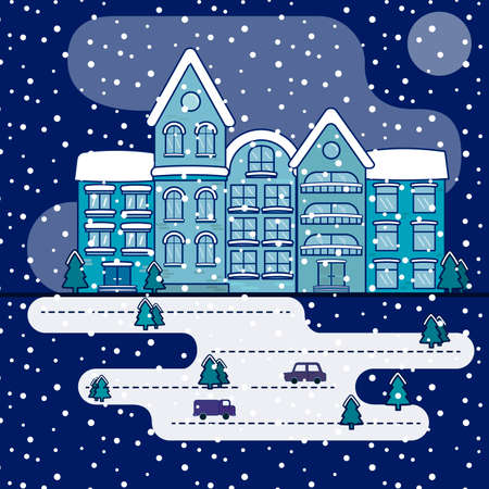city scape in snowy winter at night flat style vector illustration 版權商用圖片 - 100338722