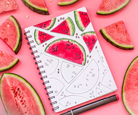 watermelon pattern sketch on pink background with markers. bright food sketch decorated with watermelon pieces