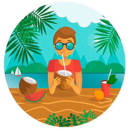 boy drinking a coconut with a sipping straw vector illustration. summer concept. vacation at tropics Ilustração