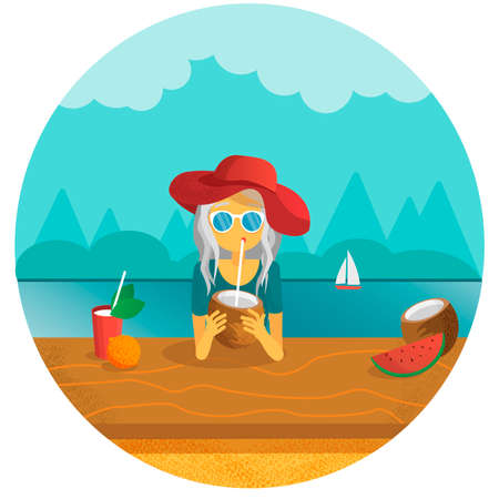 Girl drinking a coconut with a sipping straw vector illustration. summer concept. vacation at tropics Ilustração