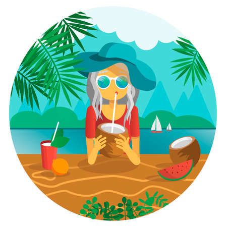 Girl drinking a coconut with a sipping straw vector illustration. summer concept. vacation at tropics Illustration