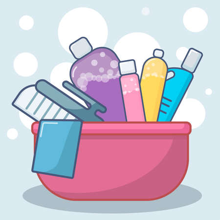 set of bottles and washing instruments with washing detergents in a bucket flat lay vector illustration Stock Illustratie