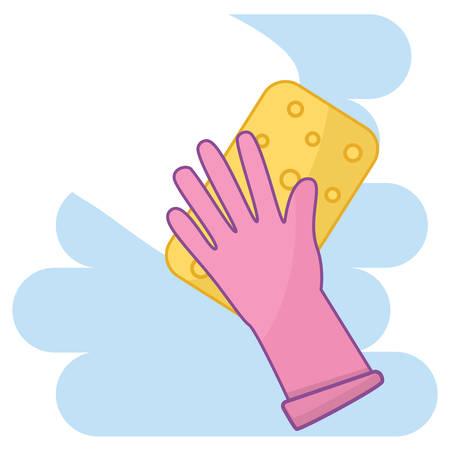 concept de nettoyage et de blanchisserie. main dans un gant en caoutchouc avec éponge nettoyage fond illustration vectorielle style plat