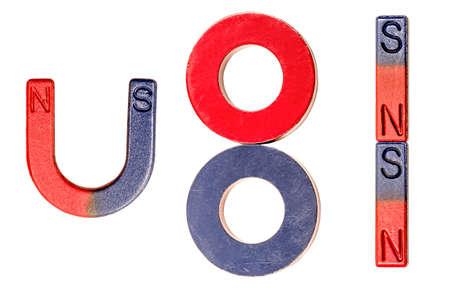 set magneten geïsoleerd op een witte achtergrond Stockfoto