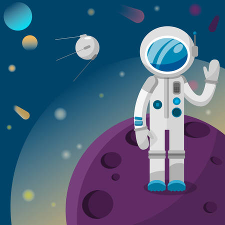 astronaut standing on a planet waving hello to a satellite in space illustration