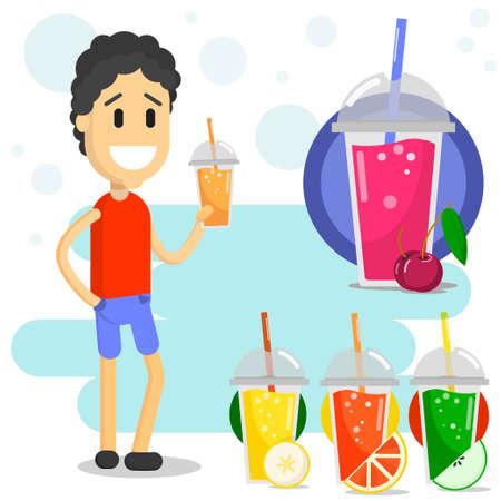 smiling man drinking smoothie flat style vector illustration. summer drinks set Ilustração