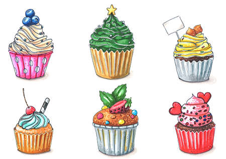 set of six cupcakes and muffins isolated on white hand-drawn illustration