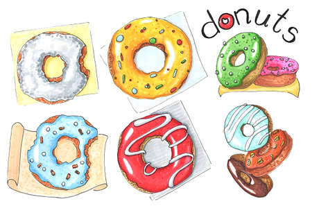 set of donuts isolated on white hand-drawn illustration Stockfoto