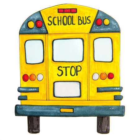 back to school concept. school bus back view isolated on white hand drawn illustration made with markers Zdjęcie Seryjne
