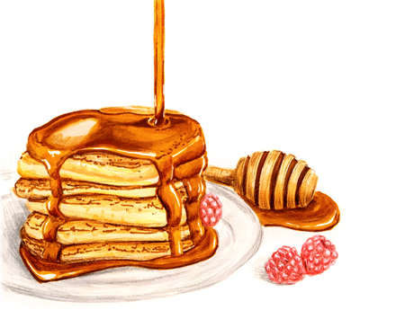 pile of pancakes with honey isolated on white hand drawn illustration