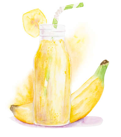 Watercolor banana milkshake or frappe decorated with a slice of banana and drinking straw isolated on white background with clipping path