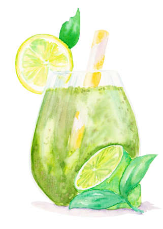 Watercolor lime milkshake or frappe decorated with a slice of lime, mint and drinking straw isolated on white background with clipping path