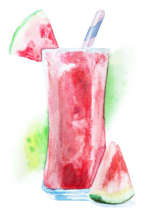 Watercolor watermelon milkshake or frappe decorated with a slice of watermelon and drinking straw isolated on white background with clipping path hand drawn illustration. Summer drinks concept