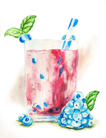blueberry smoothie in a glass decorated with berries, mint and drinking straw with watercolor splash background hand drawn illustration with clipping path Stock Photo