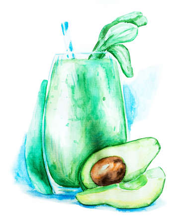avocado shake in a glass decorated with leaves of spinach and drinking straw with watercolor splash background hand drawn illustration with clipping path Stock Photo