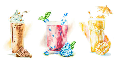 Fruit smoothies or milkshakes decorated with fruit and drinking straws isolated on white hand drawn watercolor illustration