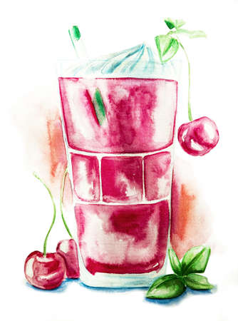 cherry shake in a glass decorated with creme, mint and drinking straw with watercolor splash background hand drawn illustration with clipping path