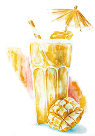 mango smoothie in a glass decorated with pieces of mango, umbrella and drinking straw isolated hand drawn illustration with clipping path