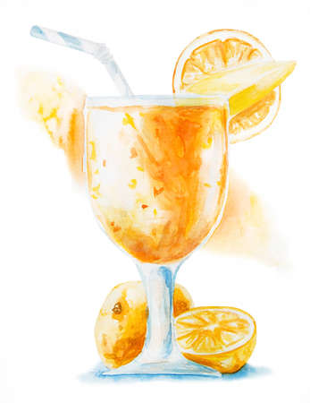 orange smoothie or shake in a glass decorated with pieces of mango, slice of orange and drinking straw isolated hand drawn illustration with clipping path
