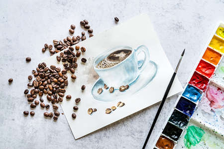hand drawn illustration decorated with coffee beans and watercolor pallete and paintbrush flat lay top view