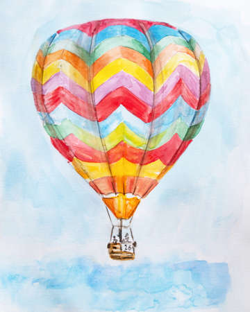 Hand drawn watercolor illustration of hot air balloon in blue sky Imagens
