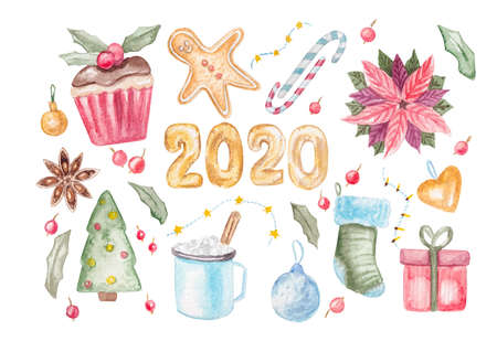 Watercolor illustration of christmas and new year elements on white background with clipping path Banque d'images - 133838572