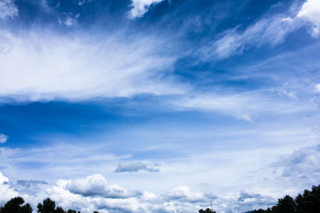 Blue sky with  varies types of clouds Banco de Imagens
