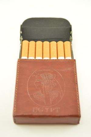 cigarette case: Leather cigarette case with scenes from Egypt