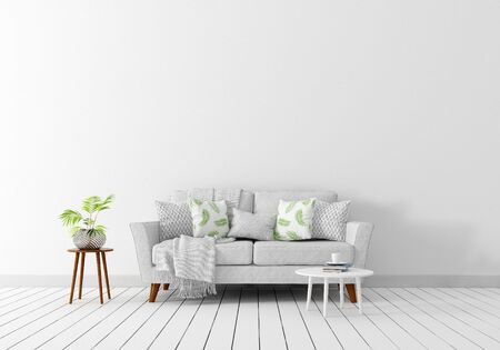 interior design con divano in tessuto bianco grigio, tavolino bianco, tavolino bianco, vaso di fiori bianco