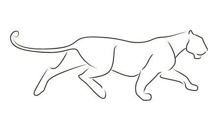 Ejecutando leopardo de línea negra sobre fondo blanco. Mano dibujo pantera gráfico vectorial.